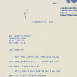 Letter : 1952 September 30