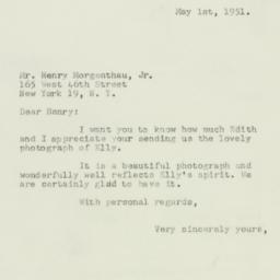 Letter : 1951 May 1