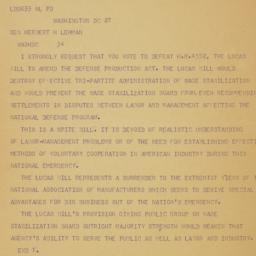 Telegram : 1951 June 27
