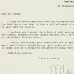 Letter : 1960 September 30