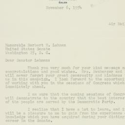 Letter: 1954 November 6