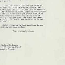 Letter: 1957 October 29
