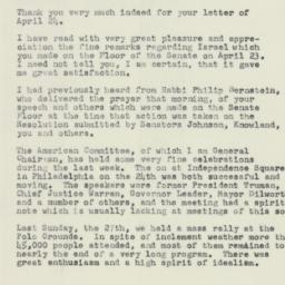 Letter: 1958 April 29