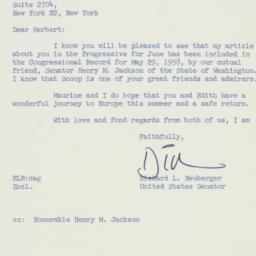 Letter: 1958 June 2