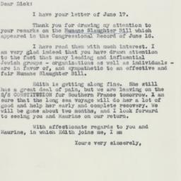 Letter: 1958 June 20