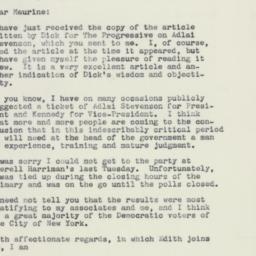 Letter: 1960 June 9