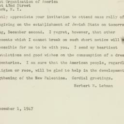 Telegram : 1947 December 1