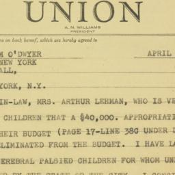Telegram : 1948 April 11