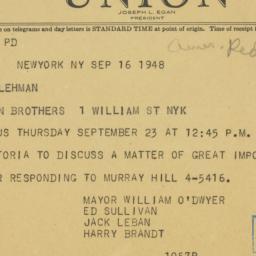 Telegram : 1948 August 16