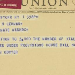 Telegram : 1950 June 1