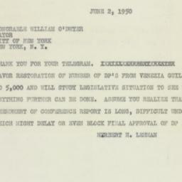 Telegram : 1950 June 2