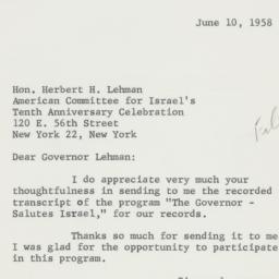 Letter: 1958 June 10