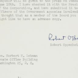 Letter : 1952 June 5