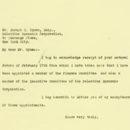 Letter : 1926 February 19