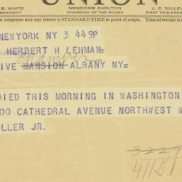 Telegram : 1941 February 3