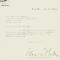 Letter: 1930 July 14