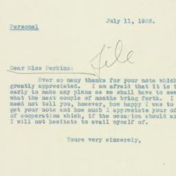 Letter: 1932 July 11
