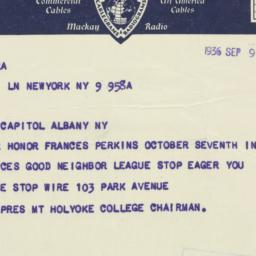 Telegram: 1936 September 9