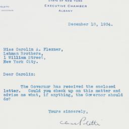 Letter : 1934 December 18
