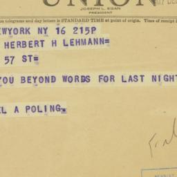Telegram : 1947 December 16