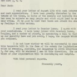 Letter : 1950 August 18