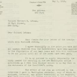 Letter : 1929 May 1