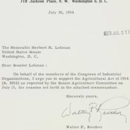 Letter : 1954 July 31