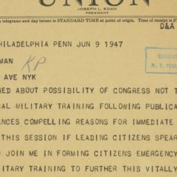 Telegram : 1947 June 9