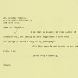 Letter: 1925 November 5