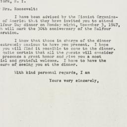 Letter: 1947 October 30