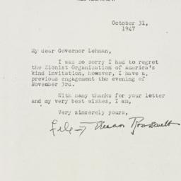 Letter: 1947 October 31