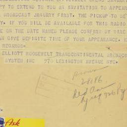 Telegram : 1939 December 18