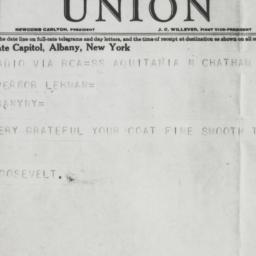 Telegram: 1931 May 8