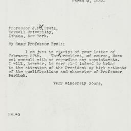Letter: 1939 March 9