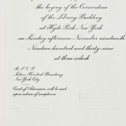 Invitation : 1939 November 19