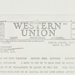 Telegram: 1940 April 4