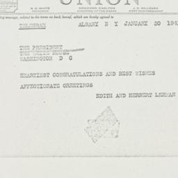 Telegram: 1941 January 30