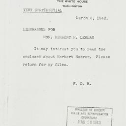 Memorandum: 1943 March 8