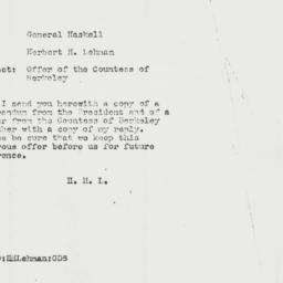 Memorandum: 1943 August 12