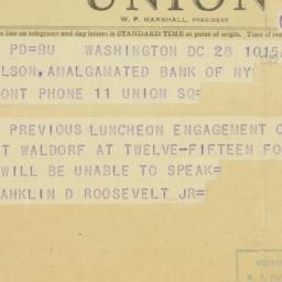 Telegram : 1949 September 28