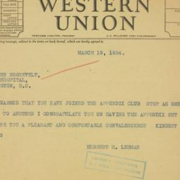 Telegram : 1934 March 19