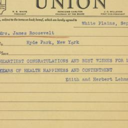 Telegram : 1938 September 21