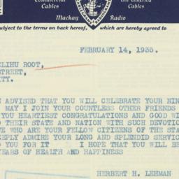 Telegram : 1935 February 14