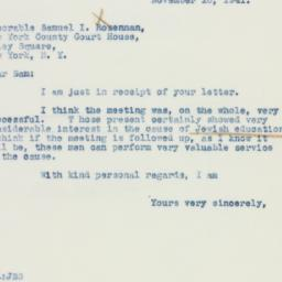 Letter : 1941 November 10