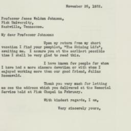 Letter : 1932 November 26