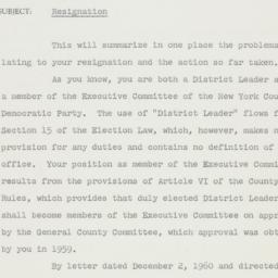 Memorandum : 1960 December 30