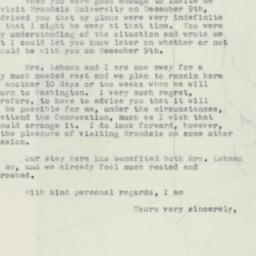 Letter : 1951 December 1