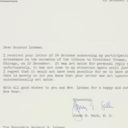 Letter : 1960 December 29