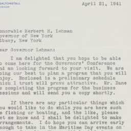 Letter : 1941 April 21