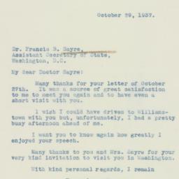 Letter : 1937 October 29